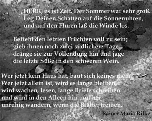 Onlinekunstde Herbstlyrik Rainer Maria Rilke Herr Es Ist Zeit